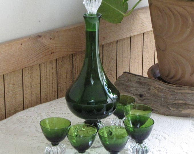 Emerald Green Liquor Decanter and Glasses Vintage Barware and Serving Set Six (6) Sherry Glasses Bourbon Set