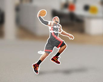 Lebron James Sticker Design King James on removable die-cut vinyl. Has a 1/8th of an inch white border around each design.