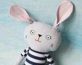 Bunny softie stripes cloth doll plushie, nursery decor new baby shower toy blue stripes