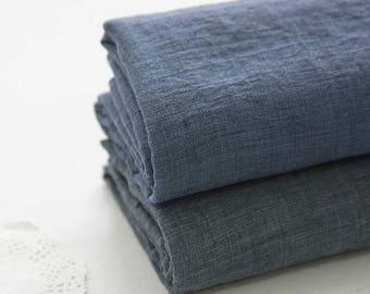 Single Washed Cotton Gauze Fabric by Yard - Indi Blue, Blue Gray Cotton Gauze