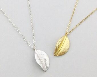 Leaf Necklace, Leaf Necklace Gold, Minimalist Jewelry, Layering Necklace, Leaf Necklace Silver, Gift for Mom, Gift for Her, Gifts under 30