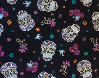 Fabric by the 1/4 Yard - Day of the Dead Black with Glitter Cotton
