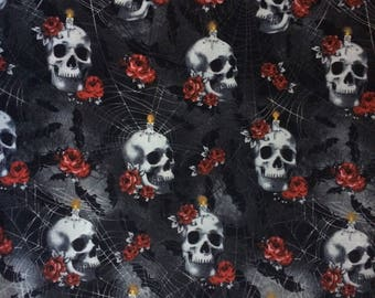 Cotton Fabric by the 1/4 Yard - Skulls and Roses Cotton