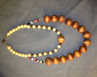 Necklace badu wooden with fancy bead