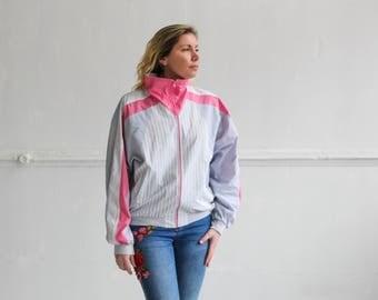 90s Active wear, Striped sports jacket, Pink track jacket, Colorblock windbreaker, Vintage jacket, Track jacket, Tracksuit / Medium Large