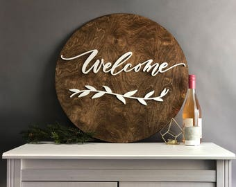 """Welcome Dark Walnut Stained Wood Sign with White Laser Cut Lettering - 24"""" Round Welcome - home decor - housewarming gift  - Free Ship anyw"""