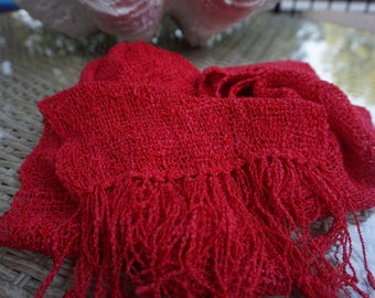 Hand woven scarf, scarf, women's scarf, cotton scarf, ladies scarves, neck scarf, woven scarf, summer scarf, red scarf, handwoven scarf