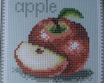 Needlepoint tapestry, FRUITS, APPLES, 15 x 15 cm, REF 2876