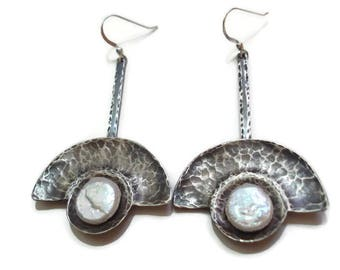 Silver Hammered Pearl Earrings Metalwork Pendulum Modern Earrings Riveted Stick Silver and Coin Pearls Earrings Hand Forged Earrings