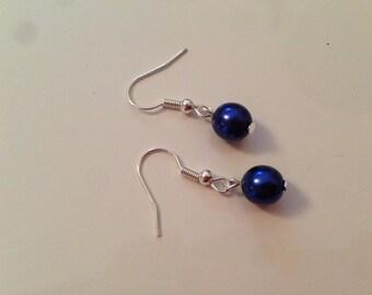 Night blue pearl earrings