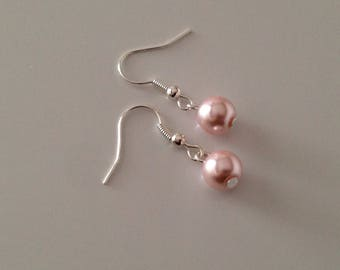 Powder Pink pearls earrings