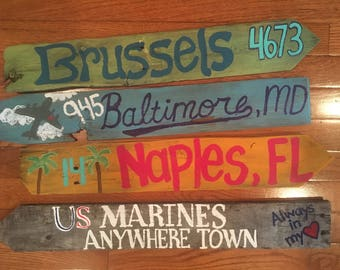 4 Pack* Travel Destination Directional Mileage Signs
