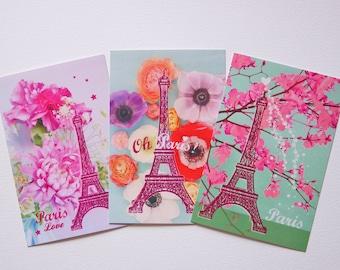 Set of three Paris Eiffel Tower 10 x 15 cm without envelope