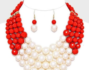 Red Necklace, cream pearls, Multi Strands, Bib Necklace, handmade gift idea.