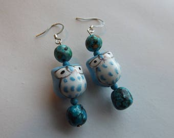 Glass Owl Turquoise Earrings