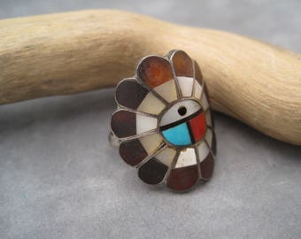 Native American Jewelry - Zuni Inlay Sun Face Ring - Signed - Multi Stones - Curved Ring