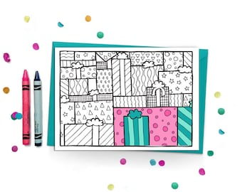 Happy Birthday Coloring Card for Adults - Presents - Coloring Card for Kids - Adult Coloring Card - Colouring Card - Kids Coloring Card