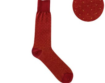 Summer Weight Pin Dots Red Yellow Mid Calf Dress Socks