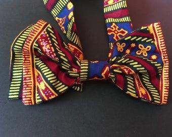 Noeud Papillon double en tissu africain wax imprimé motifs liberty scratch fantaisie original ethnique geometrique