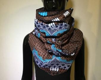 foulard ethnique long wax triangle echarpe tissu wax pompons scarf original fantaisie accessoire africain