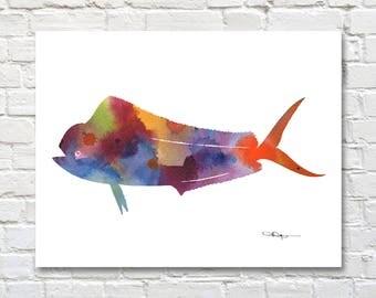 Mahi Mahi Fish Print - Abstract Watercolor Painting - Wall Decor