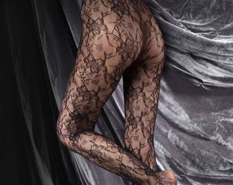 100% Seamless Black Floral Lace Luxury Ladderproof Pantyhose