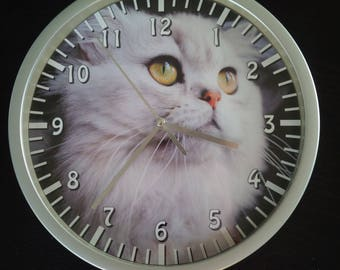 clock wall pattern Persian Cat with green eyes