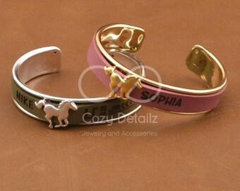 cowgirl bracelet, custom horse bracelet, women engraved bracelet, country western jewelry, equestrian bracelet, horse lover jewelry