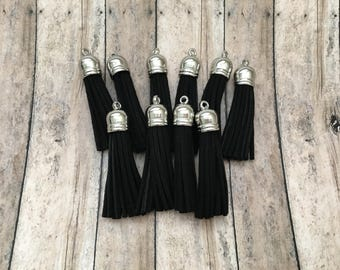 59mm Silver Cap Black Tassel - 10 Count