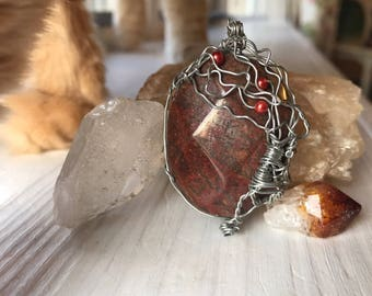 Flowering Tree Wire Wrapped Pendant - Handmade Red Brown Gemstone Wrapped with Silver Wire - Women's Pendant - Men's Pendant