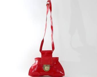 Red Shiny Leather Bag, Designer Bag, Crossbody Bag, Women's Handbag, Purse, Messenger Bag, Handmade Tote, Leather purse, Medium Travel Bag