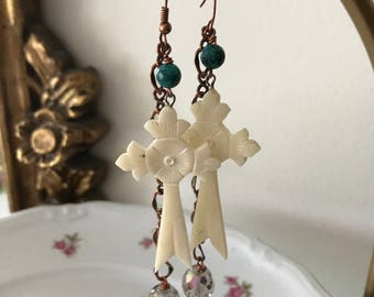 EARRINGS -Large Engraved faux Ivory Cross  Earrings Handmade Oxidized Copper Turquoise German Crystal OOAK Chain Religious Pierced Catholic