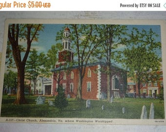 ON SALE till 6/30 Christ Church, Alexandria, VA., Where George Washington Worshipped Vintage View Postcard