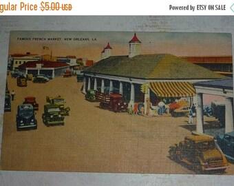 ON SALE Famous French Market, New Orleans, LA Vintage Linen View Postcard Unused