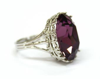 gothic wedding ring alternative engagement ring antique silver amethyst swarovski crystal stone - Gothic Wedding Ring