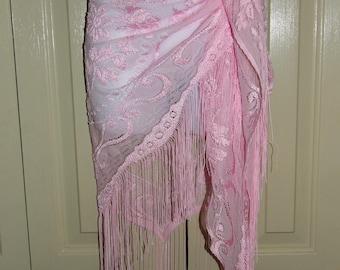 Pink Sheer Lace Shawl, Swimwear, Cruise wear, Beachwear, Sarong, Pareo,
