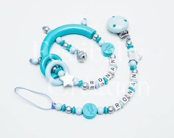 Duo personalized rattle and pacifier matching Set Schnullerkette und Greifling, Pacifier clip