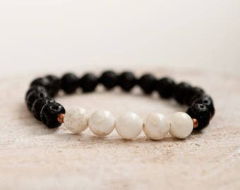 Essential oil diffuser bracelet lava stone howlite diffuser bracelet aromatherapy jewelry