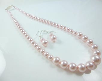 Pink Pearl Necklace and Earring Set, Graduated Pearl Necklace, Swarovski Pearls, Pink Necklace, Wedding Jewelry