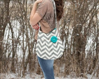 CHRISTMAS SALE CONCEALED Carry- Grey Chevron Purse, Conceal and Carry, Grey and Natural Zig Zag, Personal Defense, Womens Conceal Carry