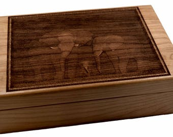 Elephant Family in the Wild - Exquistely Engraved on Heirloom Quality Chest - Available for Tea, Essential Oils or as Keepsake Chest.