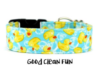 Boy Dog Collar, Girl Dog Collar, Rubber Ducky, Water Dog Collar, Trendy Dog Collar, Wide Dog Collar (Upgrade to Metal Buckle or Martingale)