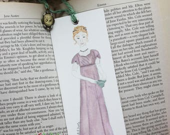Emma Woodhouse Book Mark, Jane Austen Bookmark, Bridal shower Favors, Book Club Favor, Literary Bookmark