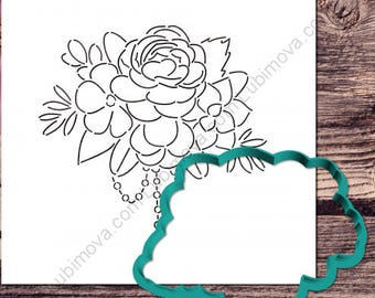"Cookie Cutter+Stencil ""The bride's bouquet"""