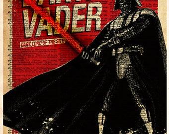 Star Wars - Darth Vader - Vintage Silhouette print - Retro Star Wars Art - Dictionary print art