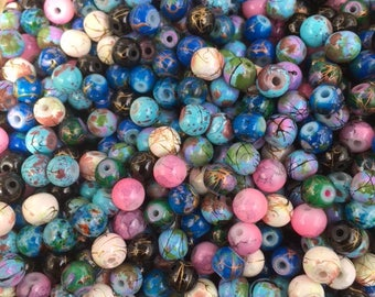 250 Mottled Marbled Glass Beads. Mix of Beautiful Colour 6mm Beads for Jewellery making and craft work.