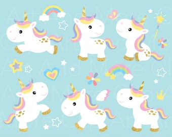 Unicorn Clipart Gold Unicorn Clip Art Pony Horse Rainbow Clipart Cute Baby Unicorn Little Horse Clipart Digital Instant Download