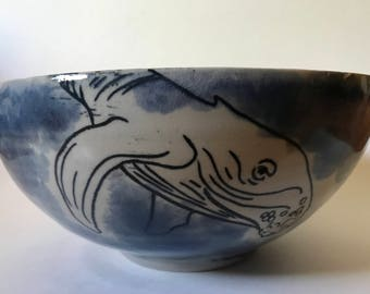 Handmade large serving bowl with hand-drawn humpback whales