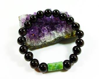 AA Garnet Bracelet -with High Grade Jadeite Jade, 8mm, Jade Bracelet, Garnet & Jade, Genuine Jadeite Jade, Dark Red Garnet Bracelet