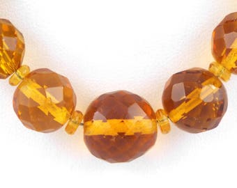 1930s CZECH.  Long Art Deco / Vintage Faceted Amber Glass Beads Necklace